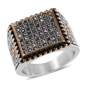 Other - Grey Austrian Crystal Black Oxidized, Ring